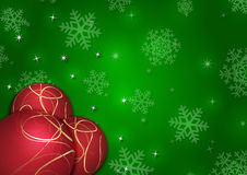 Christmas background with snowflakes and globes. In green colored scenery Stock Photo