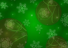 Christmas background with snowflakes and globes. In green colored scenery Royalty Free Stock Photography