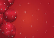 Christmas background with snowflakes and globes. In red colored scenery Stock Images