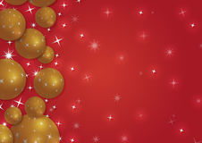 Christmas background with snowflakes and globes. In red colored scenery Royalty Free Stock Photography