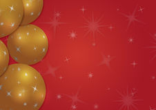 Christmas background with snowflakes and globes. In red colored scenery Stock Photo