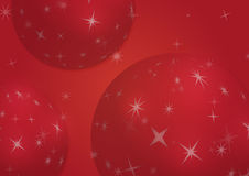 Christmas background with snowflakes and globes. In red colored scenery Royalty Free Stock Image