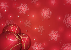Christmas background with snowflakes and globes. In red colored scenery Stock Photography