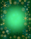 Christmas Background with Snowflakes. Green Christmas card with snowflakes Royalty Free Stock Photo
