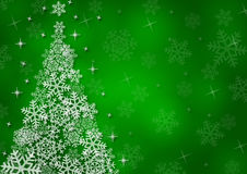 Christmas background with snowflakes. In green colored scenery Royalty Free Stock Photo
