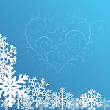 Christmas background with snowflakes and heart Royalty Free Stock Photos