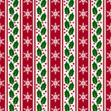 Christmas background with snowflakes and holly. Vector seamless Royalty Free Stock Images