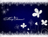 Christmas background with snowflakes and ice flowers Royalty Free Stock Images