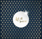 Christmas background with snowflakes and Let it snow label. Royalty Free Stock Photos