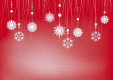 Christmas background with snowflakes on red Royalty Free Stock Photo