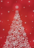 Christmas background with snowflakes. In red colored scenery Royalty Free Stock Images