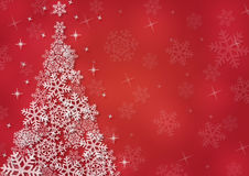 Christmas background with snowflakes. In red colored scenery Royalty Free Stock Image