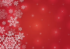 Christmas background with snowflakes. In red colored scenery Stock Images