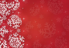 Christmas background with snowflakes. In red colored scenery Royalty Free Stock Photo