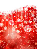 Christmas background with snowflakes on red. EPS 8 Stock Photography