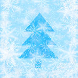 Christmas background with snowflakes with the shape of christmas tree Stock Photos