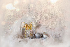 Christmas background with snowflakes and silver balls Stock Image
