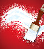 Christmas  background with snowflakes and snow brush Stock Photography