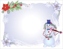 Christmas Background with Snowflakes and Snowman Royalty Free Stock Photography