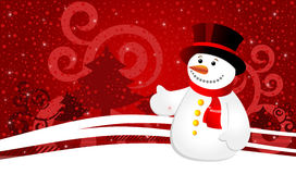 Christmas background with snowflakes and snowman Stock Photography
