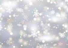 Christmas background of snowflakes and stars. Design royalty free illustration