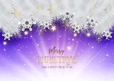 Christmas background with snowflakes and stars. And white fir tree branches Royalty Free Stock Image