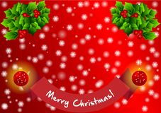 Christmas background with snowflakes and Text Merry Christmas vector illustration