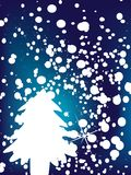 Christmas background with snowflakes and tree royalty free stock photos