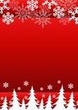 Christmas background snowflakes trees. Royalty Free Stock Photos