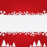 Christmas background with snowflakes and trees. Royalty Free Stock Photo
