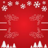 Christmas background with snowflakes and trees. Royalty Free Stock Image