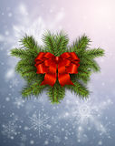 Christmas background with snowflakes. Winter design with christmas fir tree wreath Royalty Free Stock Photo