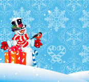 Christmas background. Snowman. For your design Royalty Free Stock Image