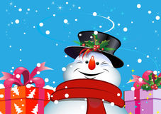 Christmas background. Snowman. Christmas background. Snowman for your design Stock Photo
