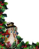 Christmas Background Snowman. Image and illustration composition Christmas design with snowman ornament and holly leaves for background border or frame with copy Royalty Free Stock Photo