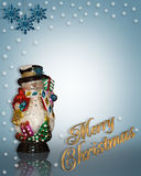 Christmas Background Snowman. Image and illustration composition Christmas design with snowman ornament and snowflakes for background border or frame with copy Stock Images