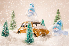 Christmas background with snowman Stock Image