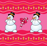 Christmas background with snowman and candy. Royalty Free Stock Photos