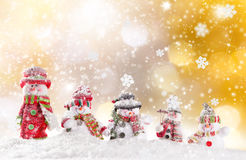 Christmas background with snowman. And falling snow Royalty Free Stock Photo