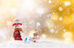 Christmas background with snowman Royalty Free Stock Images
