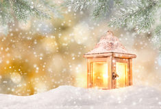 Christmas background with snowman. And falling snow Royalty Free Stock Photos