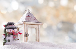 Christmas background with snowman. And falling snow Stock Images
