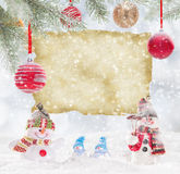 Christmas background with snowman Stock Images
