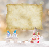 Christmas background with snowman. And falling snow Royalty Free Stock Photography