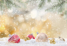 Christmas background with snowman. And falling snow Stock Photography
