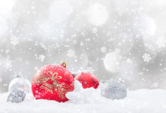 Christmas background with snowman. And falling snow Stock Image