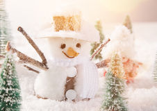 Christmas background with snowman. And falling snow Stock Photo