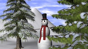 Christmas Background with a Snowman and fir trees. Christmas Background with a Snowman and two fir trees Royalty Free Stock Image
