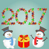 Christmas background with snowman and gifts . New year Vector illustration. Stock Photography