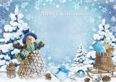 Christmas background with snowman and gifts Stock Photography